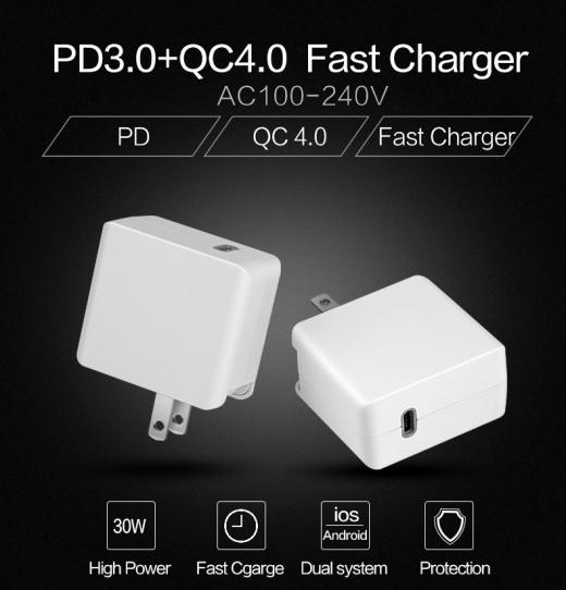 TC-EPD30W USB-C PD 3.0+QC3.0 USB FAST CHARGER 3