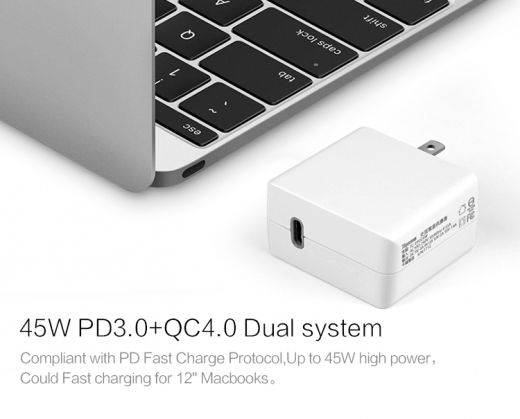 TC-EPD45W Type-C Power Delivery and QC3.0 quick charge mode USB adaptor 3