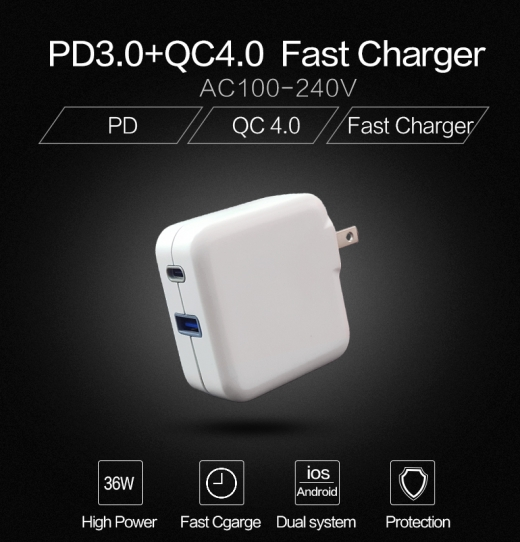 36W Quick Charger - BSMI Type C PD3.0/QC3.0+Type A QC3.0 2